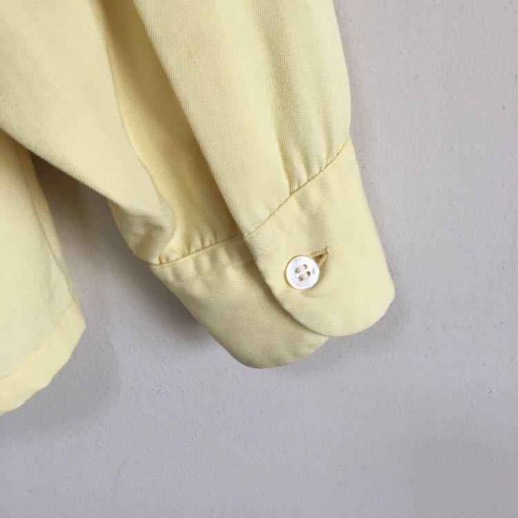 50s ARROW ギャバジン レーヨン シャツ ビンテージ 50年代 USA製 古着 開襟 ロカビリー 60s 単色 オープンカラー アメリカ製 ループ留め_画像5