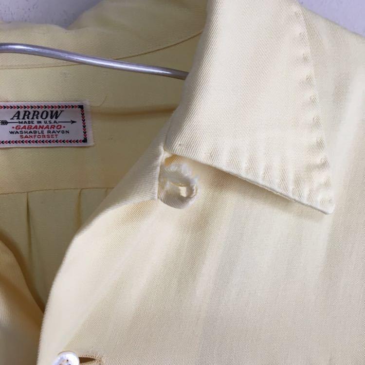 50s ARROW ギャバジン レーヨン シャツ ビンテージ 50年代 USA製 古着 開襟 ロカビリー 60s 単色 オープンカラー アメリカ製 ループ留め_画像6