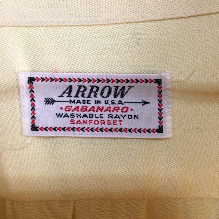 50s ARROW ギャバジン レーヨン シャツ ビンテージ 50年代 USA製 古着 開襟 ロカビリー 60s 単色 オープンカラー アメリカ製 ループ留め_画像3
