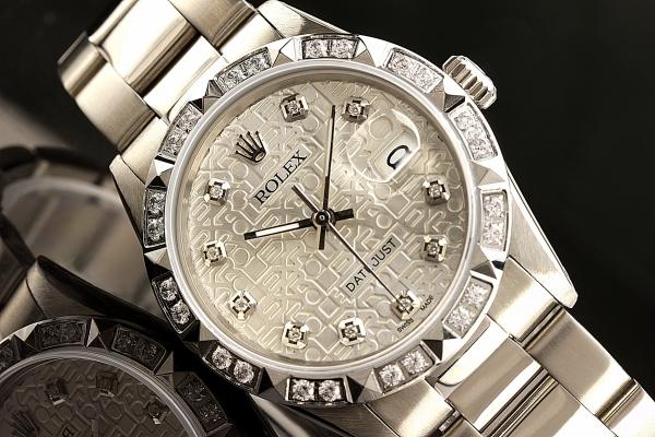 ◆ロレックス デイトジャスト16014 シルバージュビリーダイヤル×10ダイヤモンド OH済 保証付◆