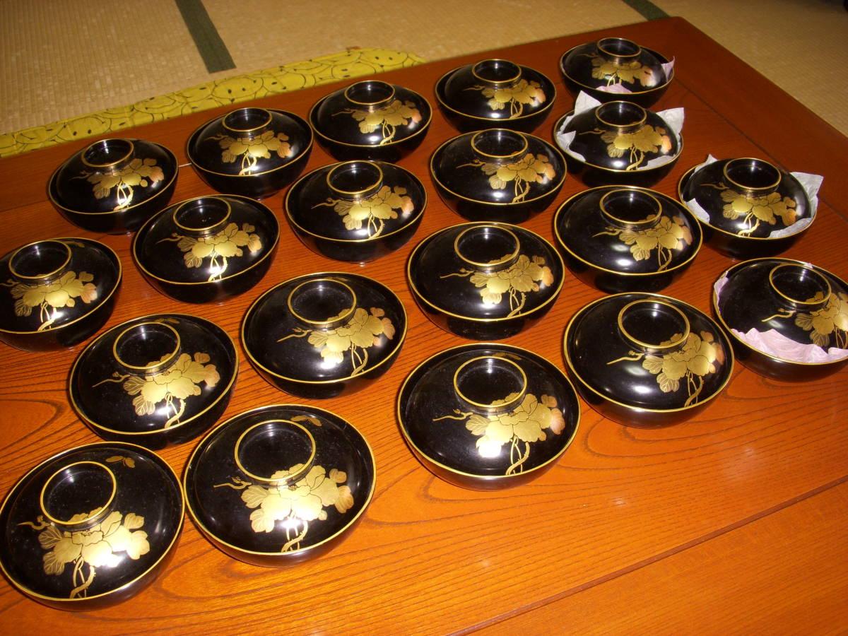 伝統工芸 輪島塗 木製漆器 溜塗金蒔絵 吸い物椀 20客セット_画像3
