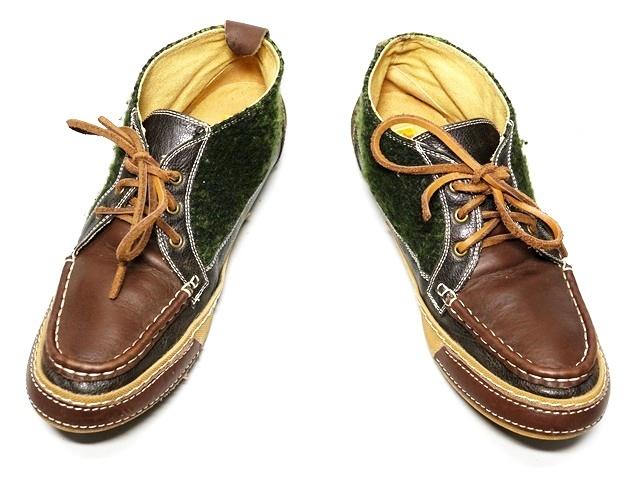 即決★whoop'EE'★25cm レザーチャッカブーツ フーピー メンズ 40 茶 ブラウン 本革 レースアップ 本皮 ウールコンビ 革靴_画像4