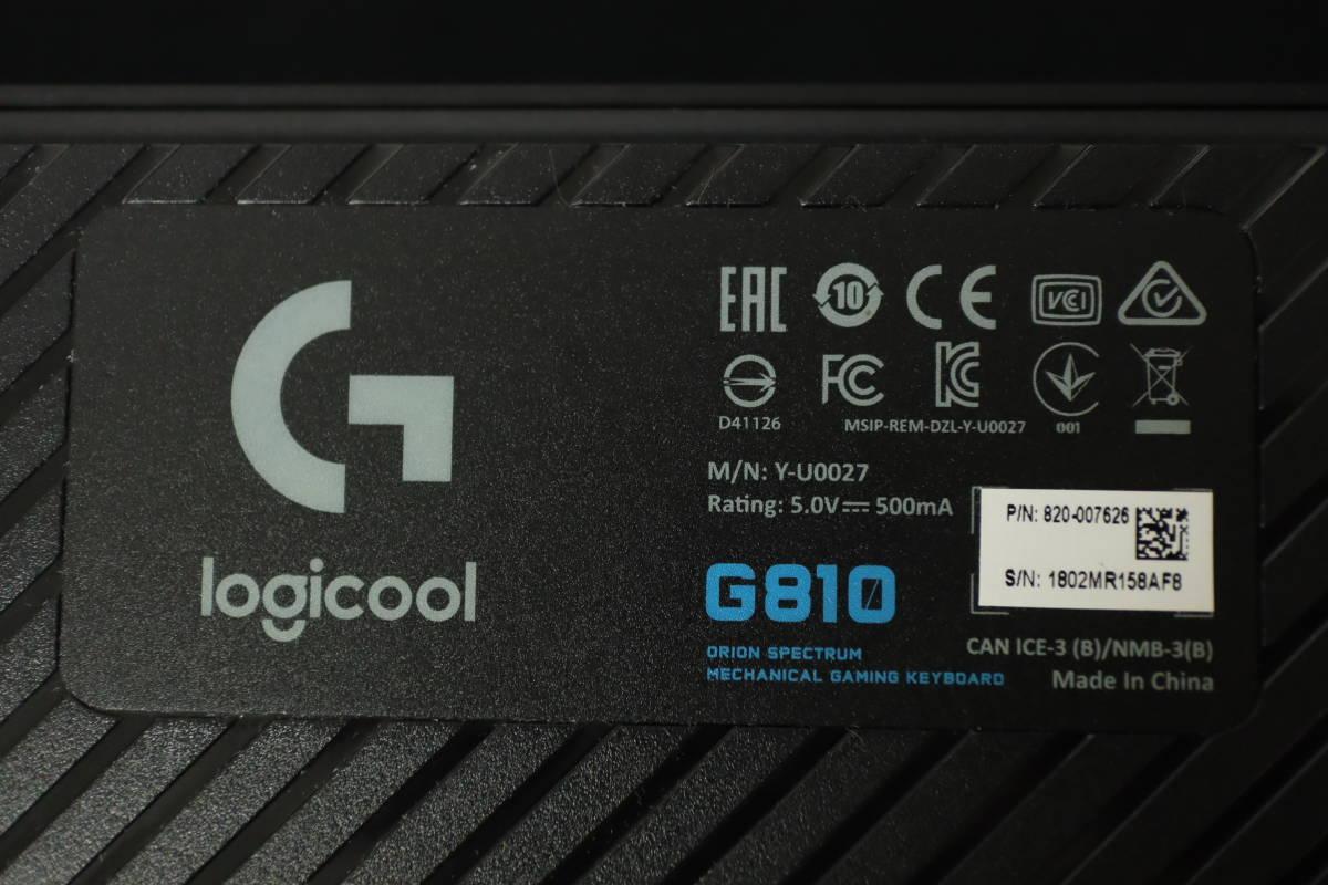Logicool ロジクール RGB メカニカルゲーミングキーボード G810 USB接続_画像3