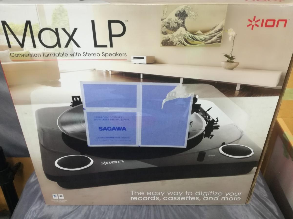 J614 美品中古 送料無料 動作確認済 ION Audio Max LP レコードプレーヤー USB端子 スピーカー内蔵 ピアノブラック アナログサウンド_画像3