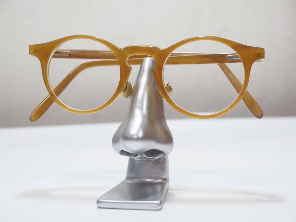 【CERF BOIS★セルボア★定価21万】バッファローホーン眼鏡★バネ丁番★ウッド&レザーケース★1130】_画像3