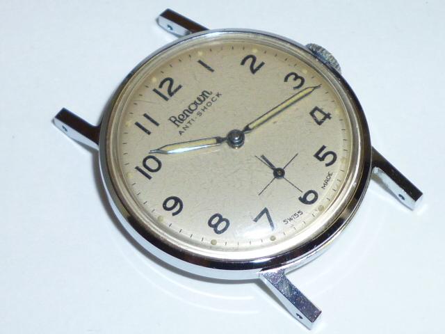 50s ビンテージ RENOWN 腕時計 手巻き ウォッチ スイス製 ミリタリー ダイヤル スモールセコンド スモセコ 機械式 稼働品 美品_画像4