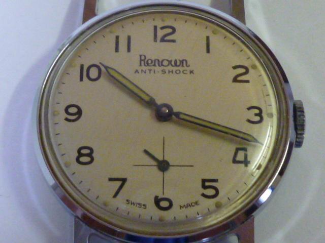 50s ビンテージ RENOWN 腕時計 手巻き ウォッチ スイス製 ミリタリー ダイヤル スモールセコンド スモセコ 機械式 稼働品 美品_画像5