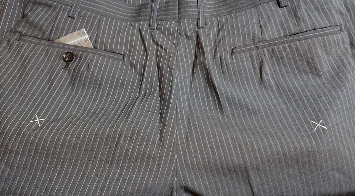 新入荷*AB9(94)*春夏物2つ釦スーツ/ノータック/グレーストライプ/新品/メンズ ビジネス 背ぬき 紳士服 ビッグ トールサイズ☆_画像9