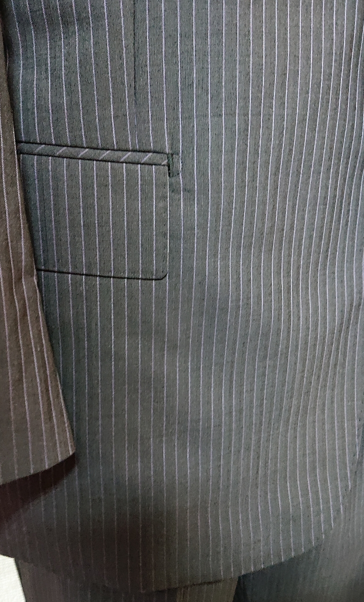 新入荷*AB9(94)*春夏物2つ釦スーツ/ノータック/グレーストライプ/新品/メンズ ビジネス 背ぬき 紳士服 ビッグ トールサイズ☆_画像5