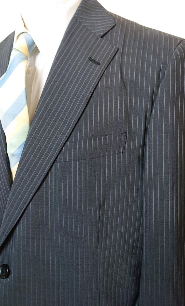 新入荷*AB9(94)*春夏物2つ釦スーツ/ノータック/グレーストライプ/新品/メンズ ビジネス 背ぬき 紳士服 ビッグ トールサイズ☆_画像3