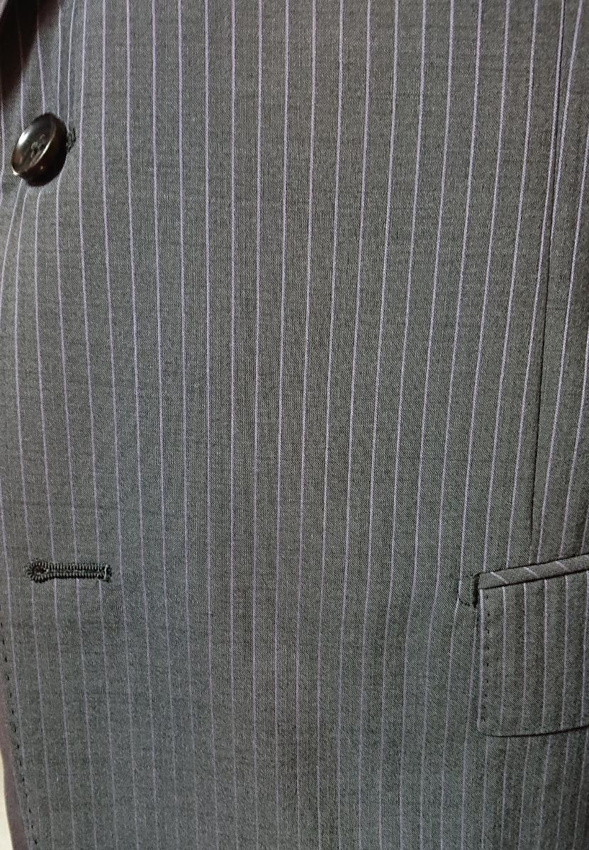 新入荷*AB9(94)*春夏物2つ釦スーツ/ノータック/グレーストライプ/新品/メンズ ビジネス 背ぬき 紳士服 ビッグ トールサイズ☆_画像4