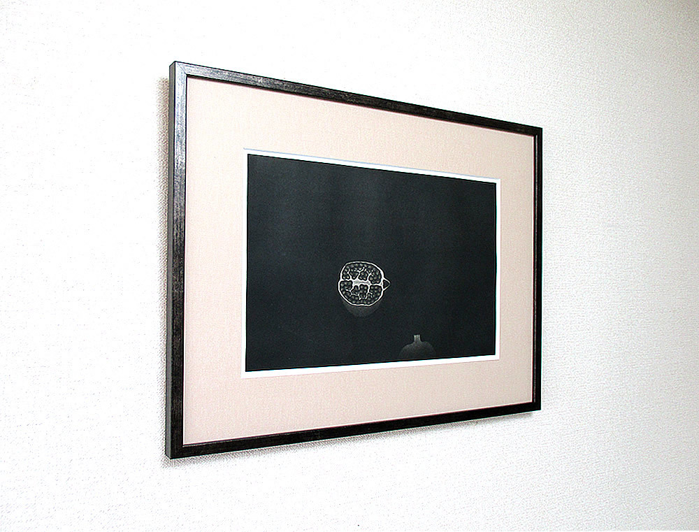◇ 20世紀版画の巨匠 ◇ 浜口陽三 銅版画【 ざくろ 】1958年 額付 真作保証 _画像4