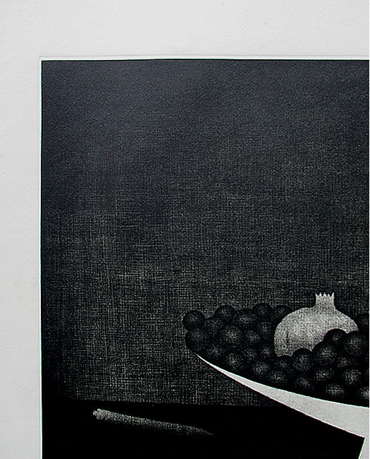 ◇ 20世紀版画の巨匠 ◇ 浜口陽三 銅版画【 果物とコンポート 】1957年 額付 [真作保証] _画像3