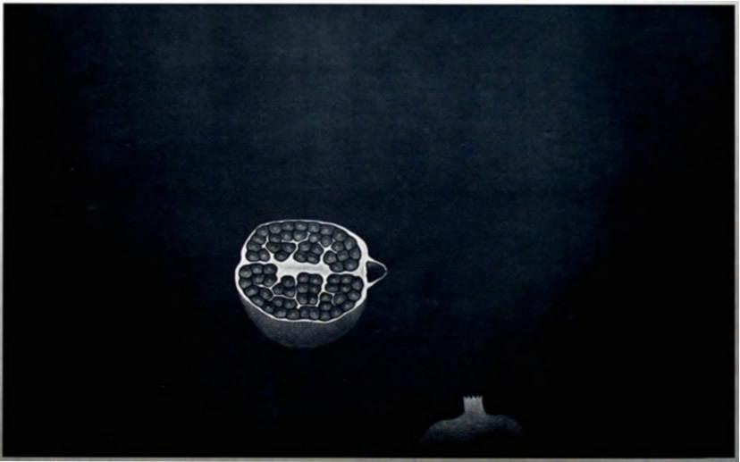 ◇ 20世紀版画の巨匠 ◇ 浜口陽三 銅版画【 ざくろ 】1958年 額付 真作保証 _画像2
