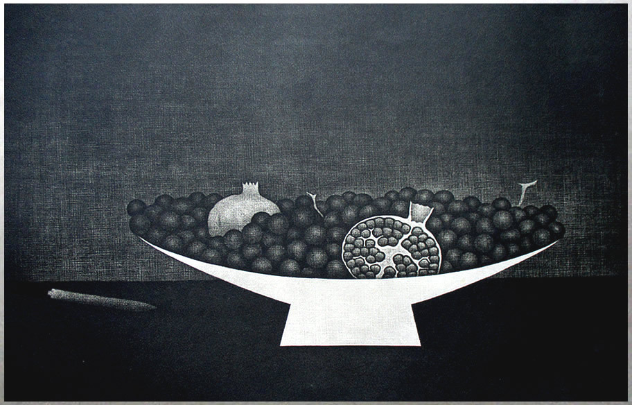 ◇ 20世紀版画の巨匠 ◇ 浜口陽三 銅版画【 果物とコンポート 】1957年 額付 [真作保証] _画像2