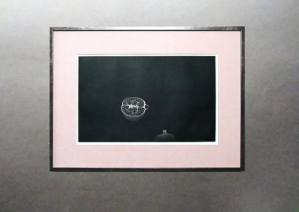 ◇ 20世紀版画の巨匠 ◇ 浜口陽三 銅版画【 ざくろ 】1958年 額付 真作保証