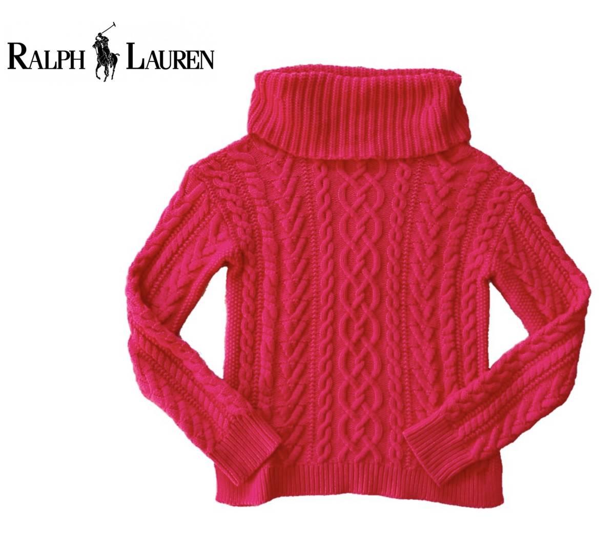 ★RALPH LAUREN ラルフローレン タートルネック コットン ケーブル ニット セーター ピンク XL_画像2