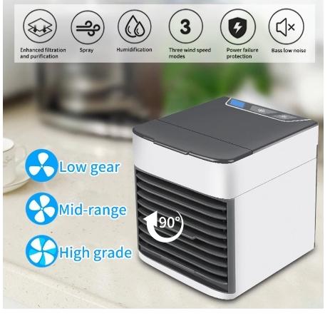 卓上扇風機 ポータブルエアコン ミニエアコン クーラー加湿器 清浄機 カラフルな Led ライト 空冷ファン