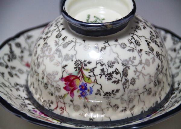 最高傑作 Bavaria ドイツ Johhan Haviland ババリア 1900年中期 銀彩花柄 シルバー カップ&ソーサー_画像5