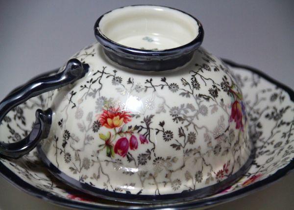 最高傑作 Bavaria ドイツ Johhan Haviland ババリア 1900年中期 銀彩花柄 シルバー カップ&ソーサー_画像4