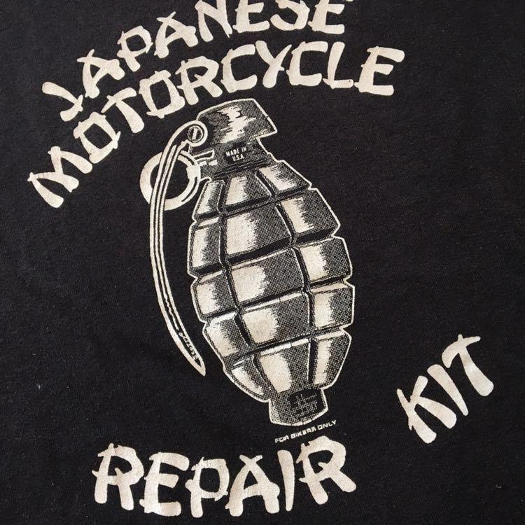 80s 80年代 ハーレー 手榴弾 USA アメリカ製 両面プリント 黒 ビンテージ M ヴィンテージ / トライアンフ BSA STP _画像2