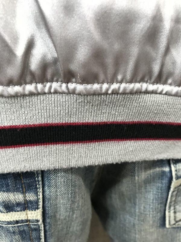 【龍刺繍】Traditional Japanese 和柄スカジャン L シルバー×黒 炎 龍_画像4