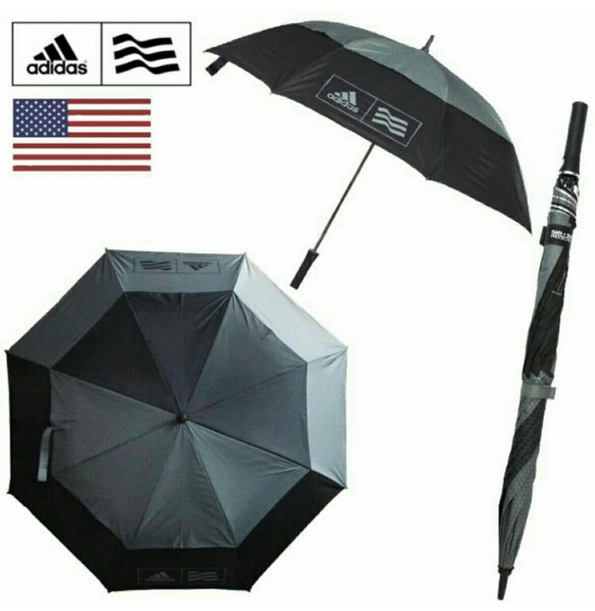 アディダス ダブルキャノピーUVアンブレラ グレー 直径137cm adidas ゴルフ 日傘 晴雨兼用 長傘 グローブ ラスト