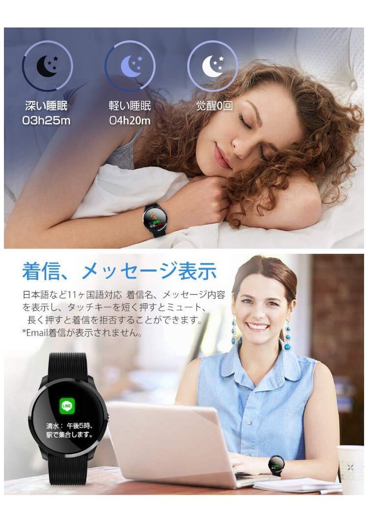 【2019最新】スマートウォッチ 血圧 心拍計 大字幕 カラースクリーン IP67防水_画像4