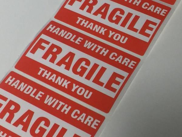 FRAGILEステッカー 壊れ物注意 割れ物 シール 飛行機 航空 楽器 機材 梱包 リモワ スーツケース mac等に 6枚 送料込即決 ポイント消化にも_画像1