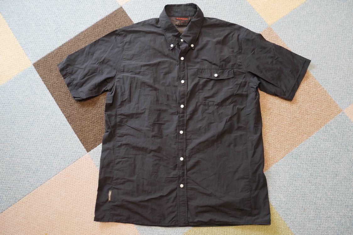 【 MAMMUT マムート BOULDER Shirts Short 半袖 速乾 BDシャツ ボタンダウン シャツ 黒 ブラック XLサイズ 】