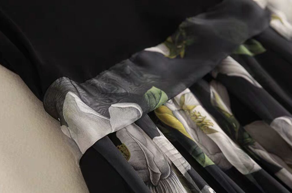 人気新作!気質 半袖 プリント ワンピース 中長セクション シフォン ひざ丈スカート ロングスカートスカートZ102♪_画像3
