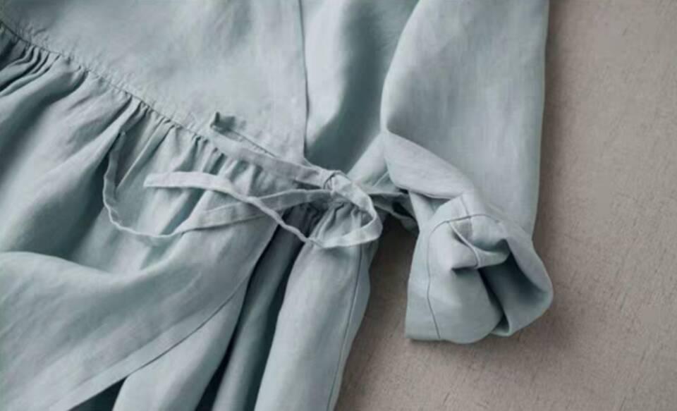 入手困難!100%リネン ストラップ レディース カーディガン 七分袖 簡素 ワンピースひざ丈スカートロングスカート スカートZ30*_画像8