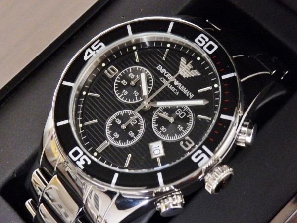 正規品 美品 ARMANI エンポリオ アルマーニ AR1421 セラミカ クロノグラフ セラミック 腕時計
