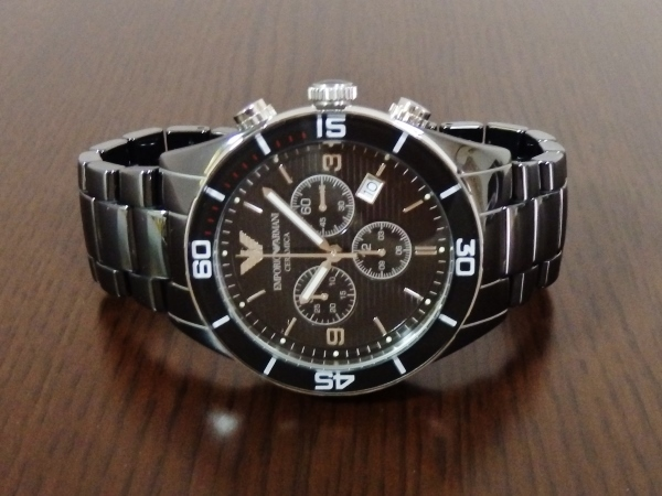 正規品 美品 ARMANI エンポリオ アルマーニ AR1421 セラミカ クロノグラフ セラミック 腕時計_画像4