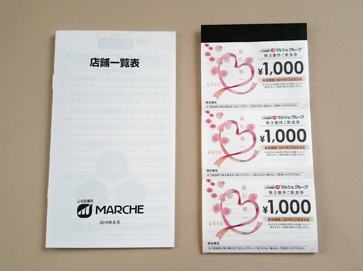 マルシェ 株主優待ご飲食券 15000円分 送料込み