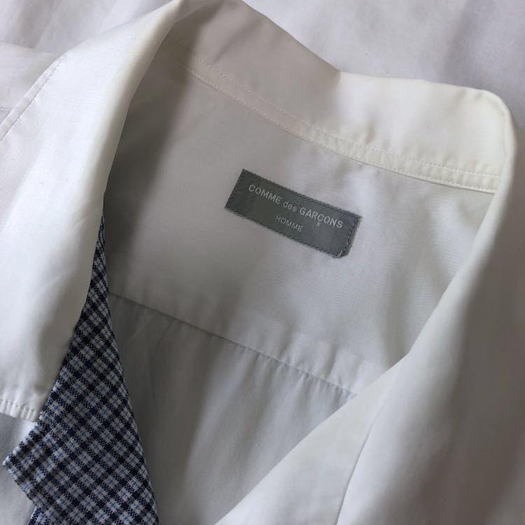 COMMEdesGARCONS HOMME コム デ ギャルソン オム メンズ 白 半袖 M ブルーチェック パッチワーク