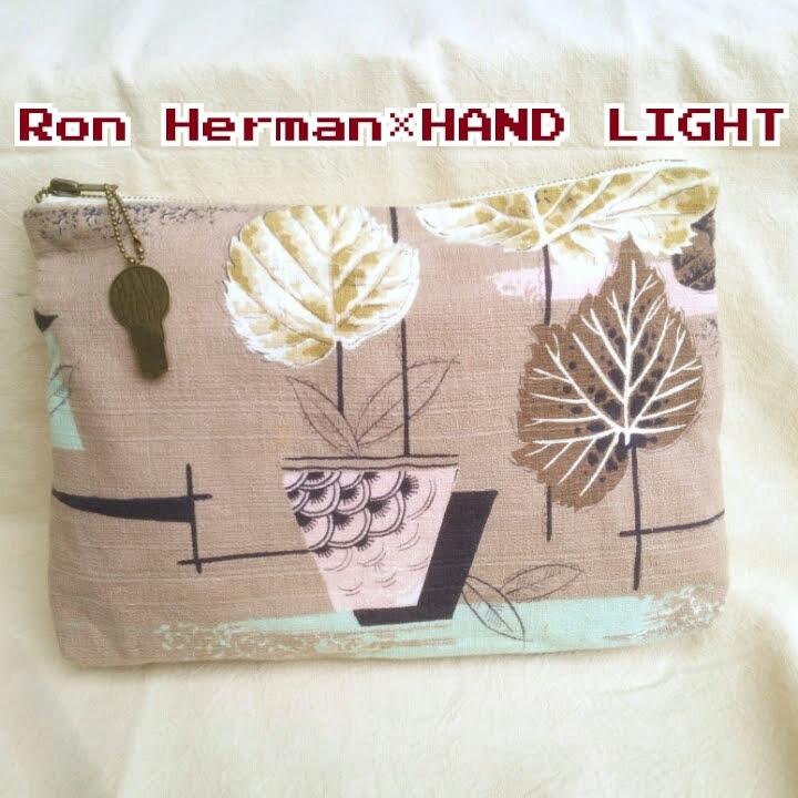 ○【ビンテージ生地】ハンドライト×ロンハーマン/HAND LIGHT for Ron Herman/リメイク/ハンドメイド/ファブリック/クラッチバッグ/
