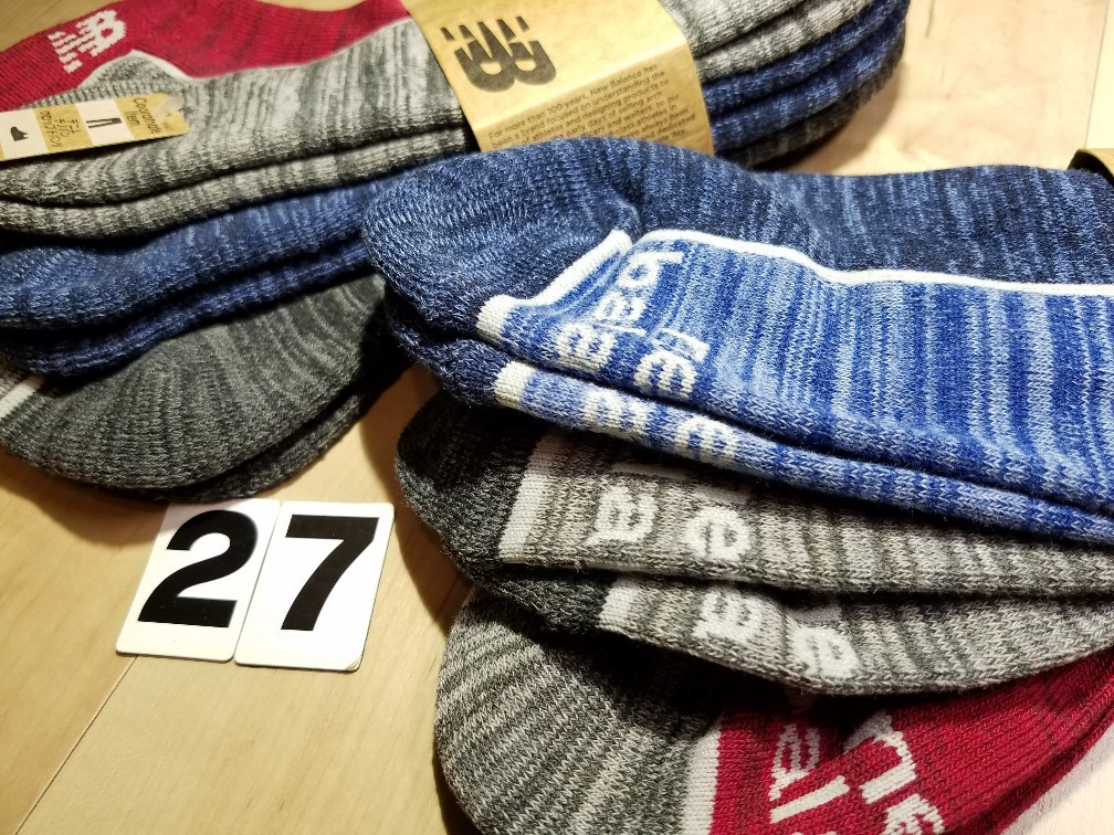 a932de25c3718 (27)3色6足組 メンズ ニューバランス 底パイル スニーカーソックス 綿混 紳士サイズ スポーツ アウトドア
