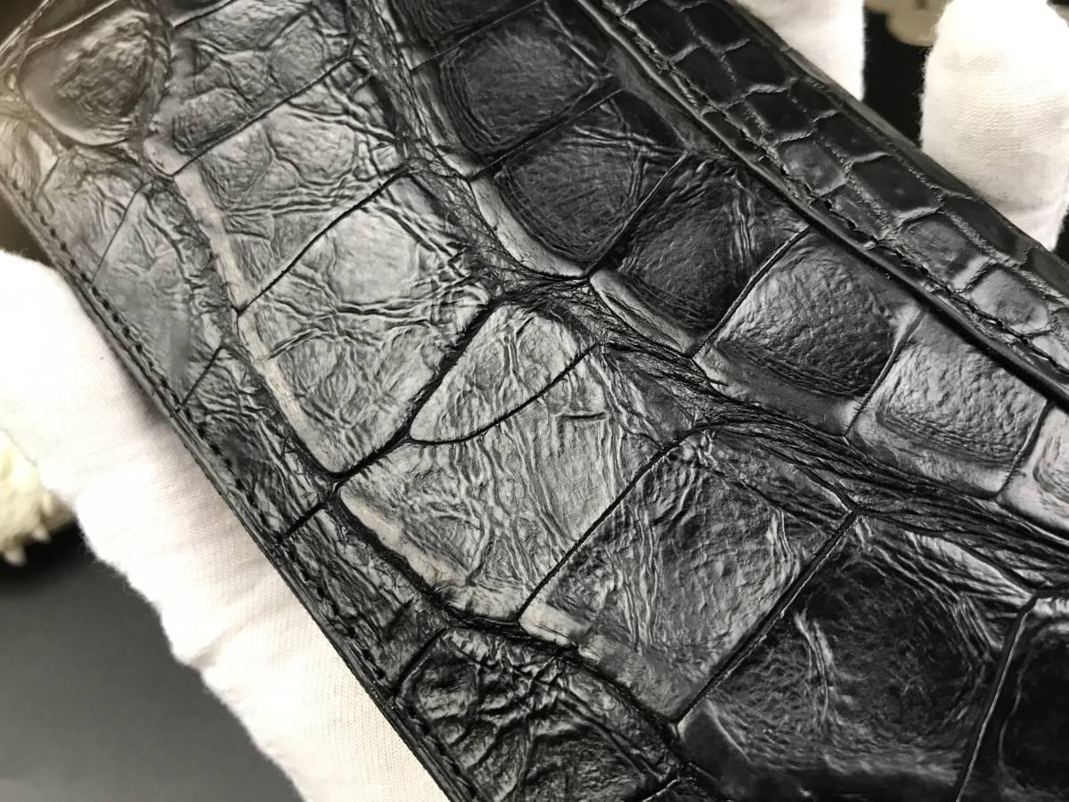 希少~キレイ一生物※ クロコダイルレザー ワニの最も硬い腹革使用ラウンドファスナー長財布 ワニ革 メンズ 本革 ウォレット鰐 _画像8