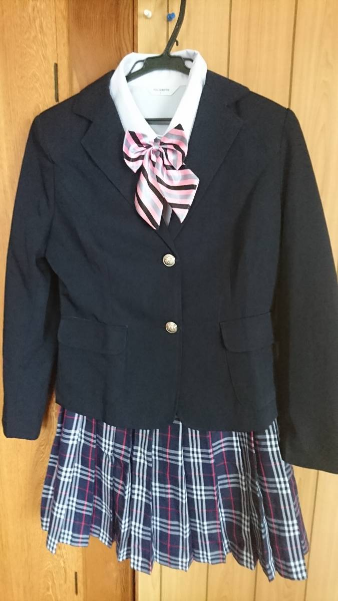 未使用品 女子高生 制服コスプレ ブレザー付き チェック柄 ミニ丈プリーツスカート