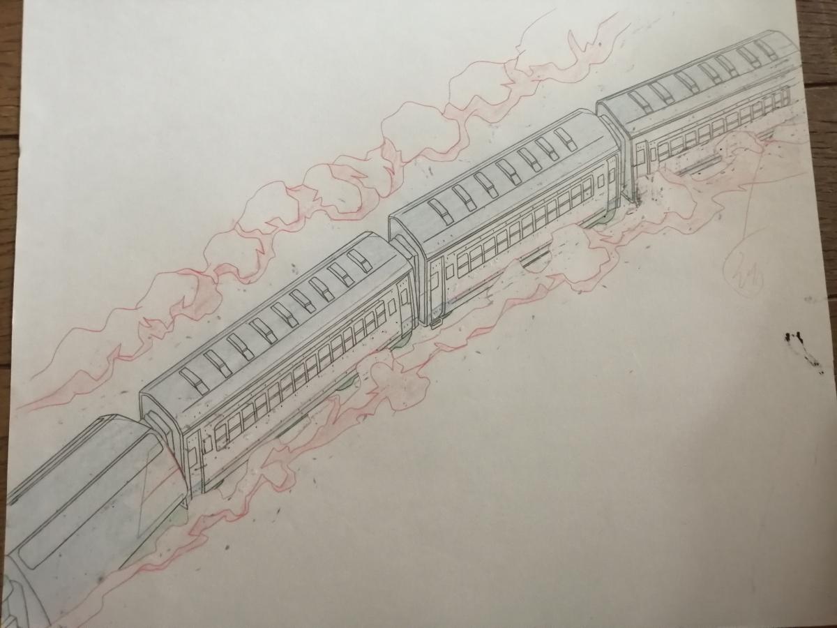 【セル画】 電車のセル画4枚セット 作品不明 動画付 コピー背景付 背景は、1枚だけお付けします。_画像9
