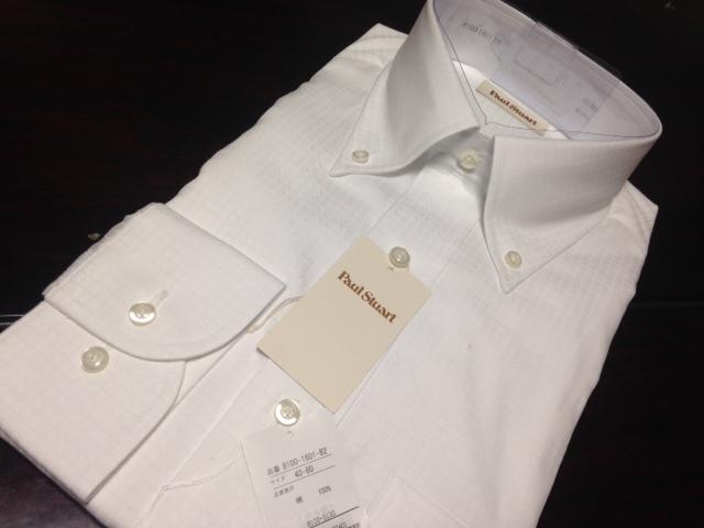 ポールスチュアート★白織柄ボタンダウンワイシャツ M(40-80) やや汚れ有のB品 でも激安です