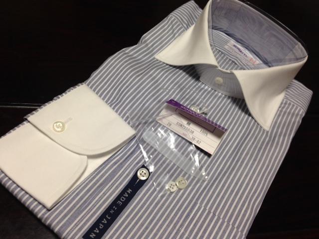 スキャッティ★ブルー×ホワイトストライプワイシャツ M(38-82) クレリック シャープモデル_画像2
