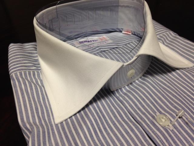 スキャッティ★ブルー×ホワイトストライプワイシャツ M(38-82) クレリック シャープモデル_画像4