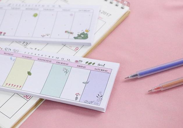 ウィークリー、週間メモ帳、スケージュル管理、付箋用 かわいい プレゼント 7種類 かぶりなし_画像3