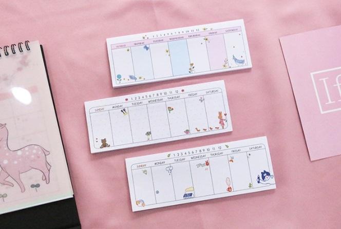 ウィークリー、週間メモ帳、スケージュル管理、付箋用 かわいい プレゼント 7種類 かぶりなし_画像4