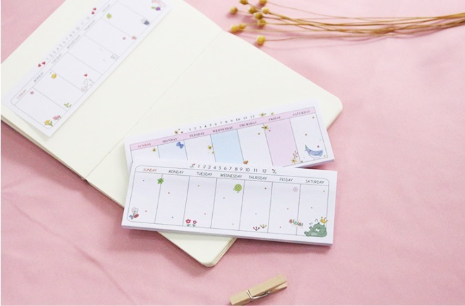 ウィークリー、週間メモ帳、スケージュル管理、付箋用 かわいい プレゼント 7種類 かぶりなし_画像2