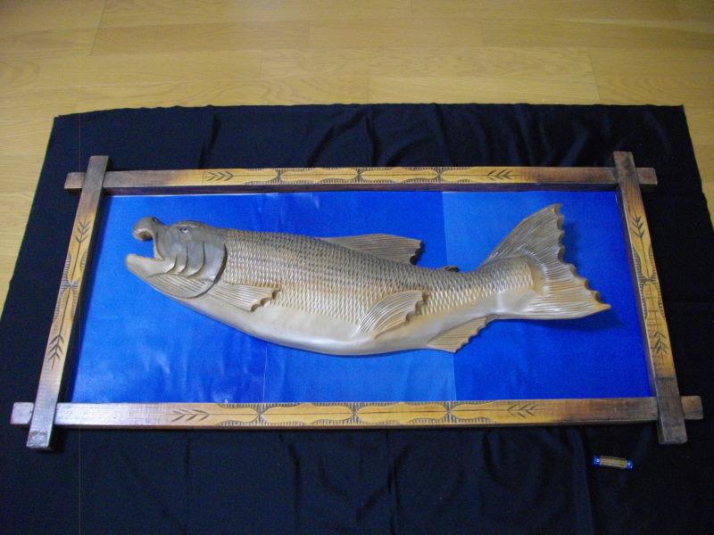 ■アイヌ■木彫り■鮭■サケ■魚■北海道■民芸品■彫刻■一刀彫り■木製■天然木■インテリア■伝統工芸品!