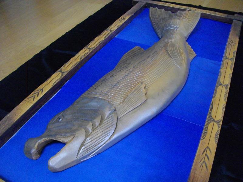 ■アイヌ■木彫り■鮭■サケ■魚■北海道■民芸品■彫刻■一刀彫り■木製■天然木■インテリア■伝統工芸品!_画像7
