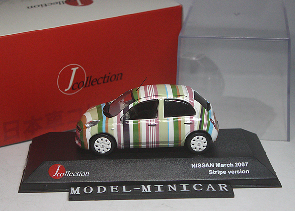 ★★★京商 J-Collection 1/43 Nissan 日産 March マーチ Stripe Version 2007 JC_画像1